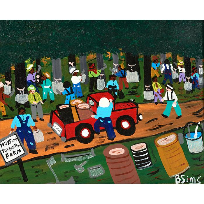 Bernice Sims, (American, b. 1926), Huxford Turpentine Farm, oil on canvas, 16