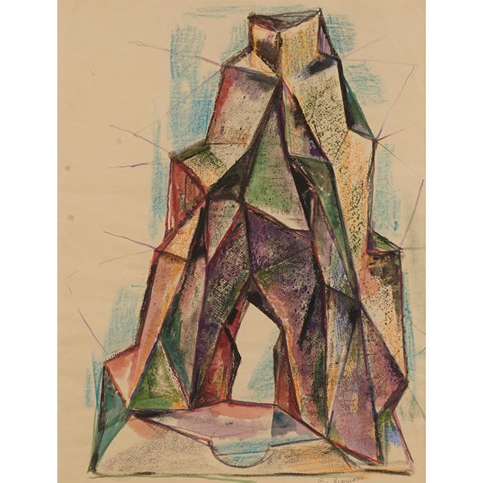 Emanuel Romano, (American/Italian, 1897-1984), Untitled, watercolor and crayon, 25.5