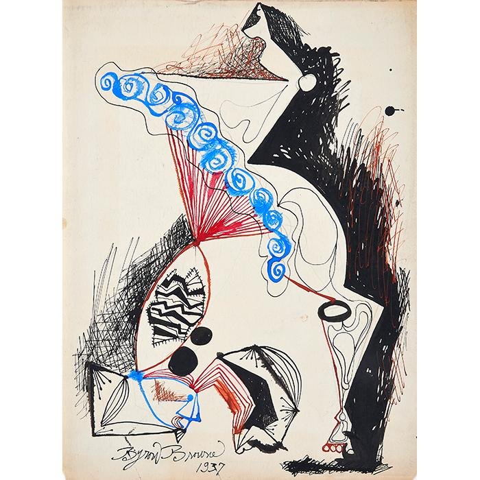 Byron Browne, (American, 1907-1961), Untitled, 1937, watercolor and ink on paper, 11.75