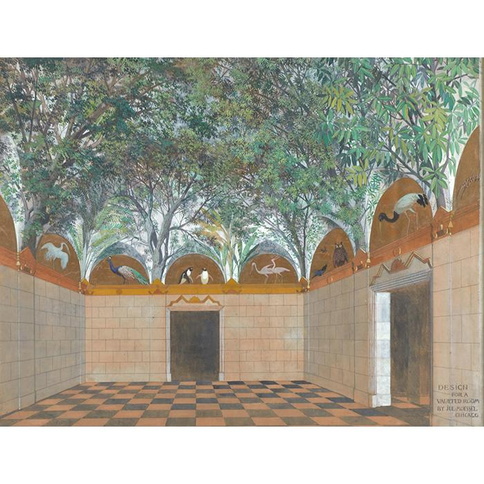 Julius Moessel, (American/German, 1871-1957), Design for a Vaulted Room, Chicago, gouache on paper, 28.5