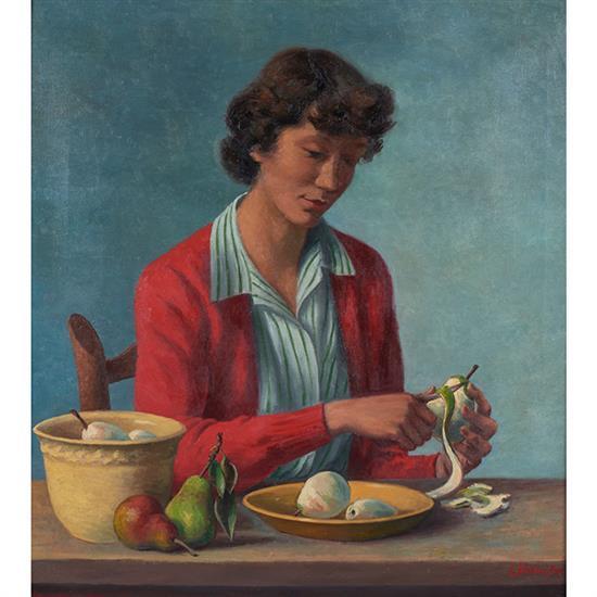 Ernest Fiene, (American/German, 1894-1965), Girl Peeling Pears, 1944, oil on canvas, 30