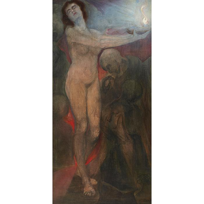 Leopold Frohlich, (Austrian, 1873-1946), Standing Nude with Kneeling Man, oil on canvas, 40