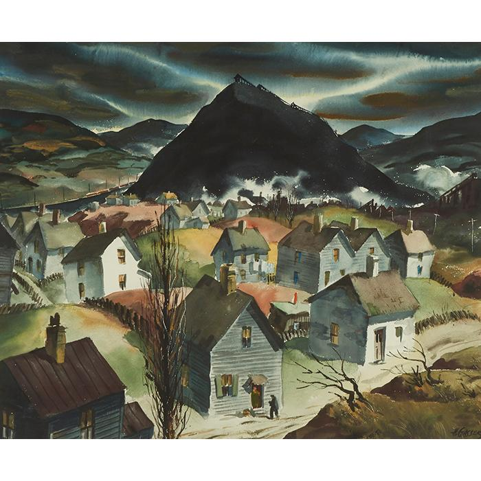 Henry Gasser, (American, 1909-1981), Coal Town, watercolor, 19