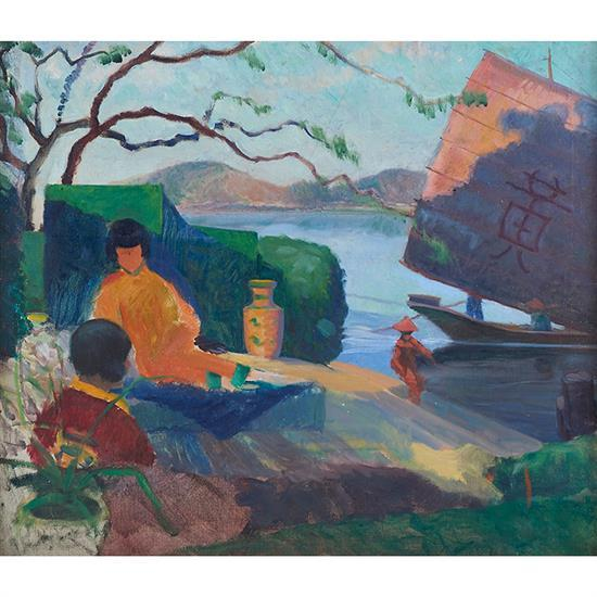 Henry Hannig, (American, 1883-1948), Asian Harbor, oil on canvas, 26