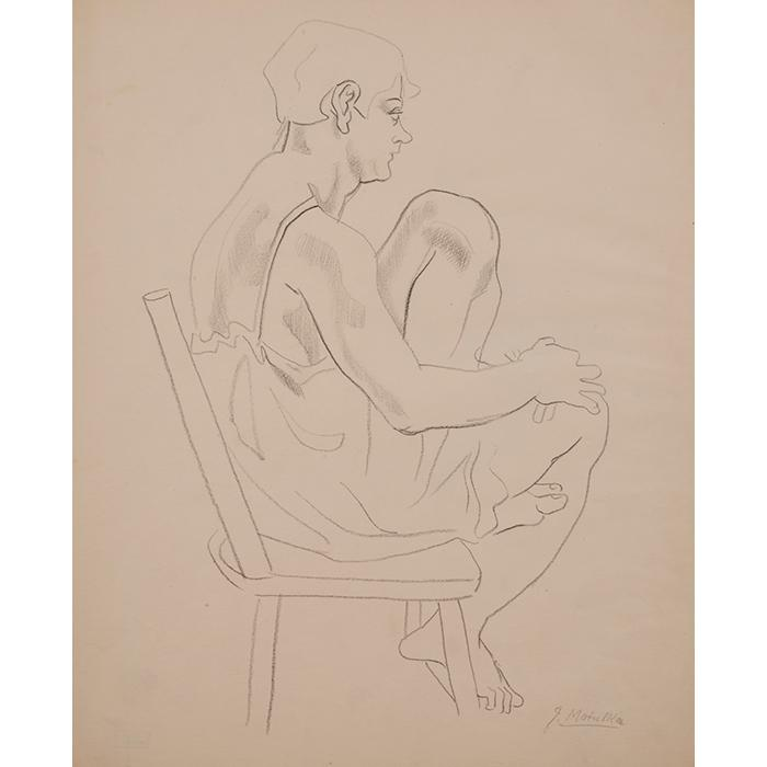 Jan Matulka, (American, 1890-1972), Seated Woman, c. 1930, crayon on cream wove paper, 17.25