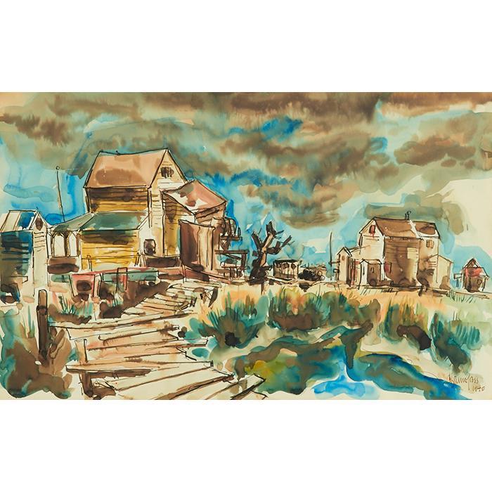 Chaim Gross, (American, 1904-1991), Provincetown, 1940, watercolor, 14