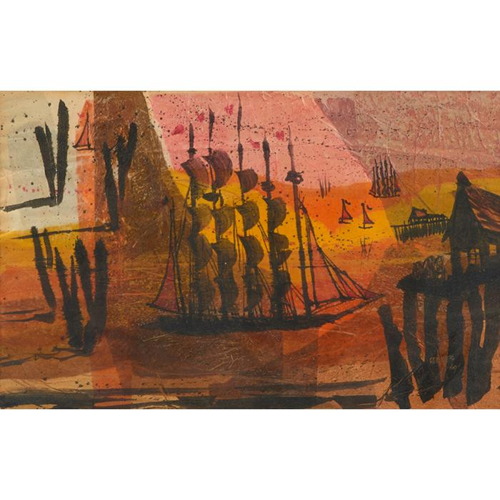 Werner Drewes, (American, 1899-1985), Ships at Sea, 1964, watercolor, 16.5