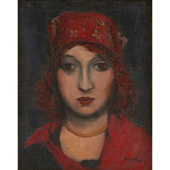 Walt Kuhn, (American, 1877-1949), Woman in Red Cap, oil on canvas, 15.25