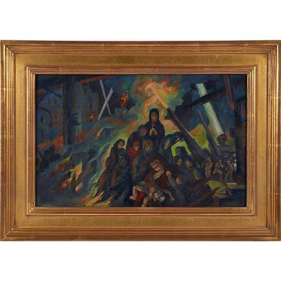 John Benninger, (American, 1906-1998), The Horror of War, oil on canvas on board, 9.5
