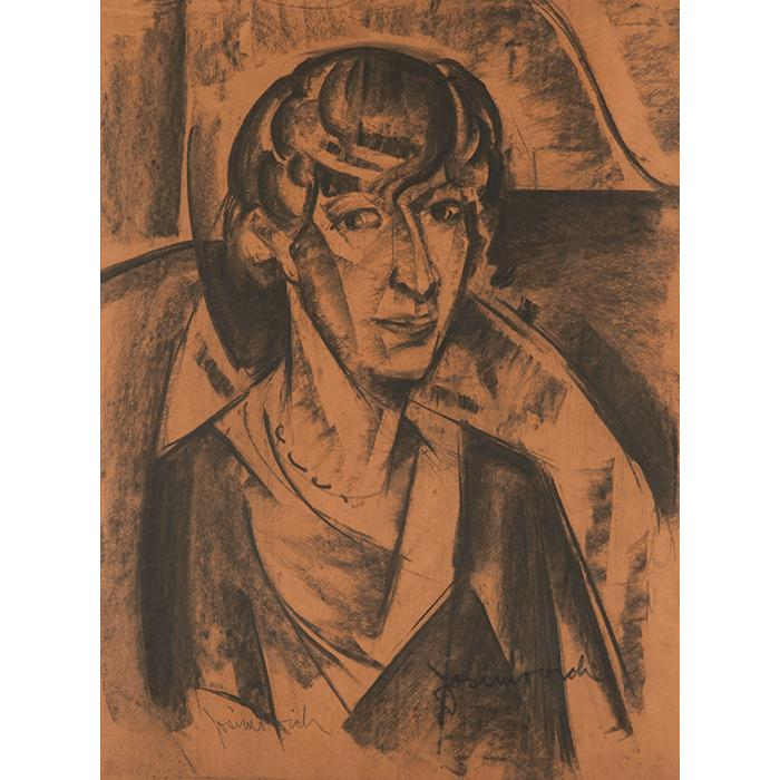 George Josimovich, (American, 1894-1986), Portrait of a Woman, charcoal, 24