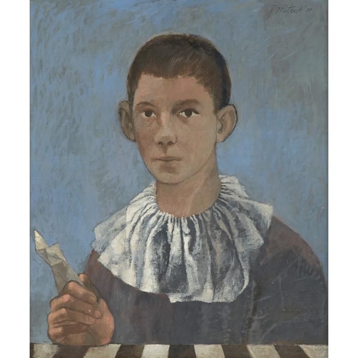 Stanley Mitruk, (American, 1922-2006), Harlequin Boy, 1954, oil on board, 22