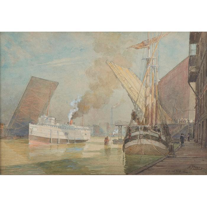 Albert Fleury, (American, 1848-1925), State Street Bridge, Chicago, watercolor, 14.25
