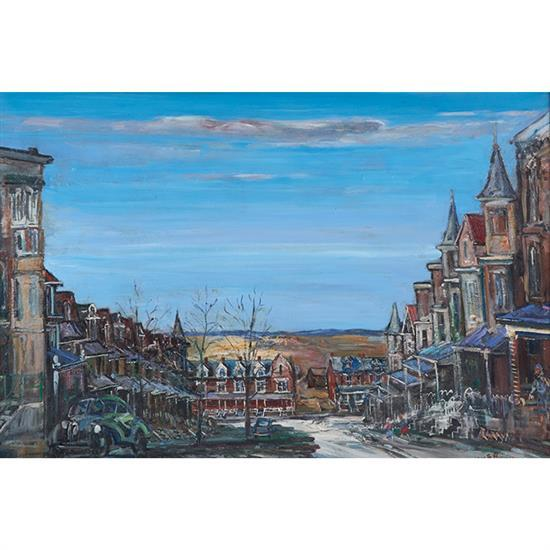 Walter Emerson Baum, (American, 1884-1956), Twelfth Street Allentown, PA, 1949, oil on masonite, 22