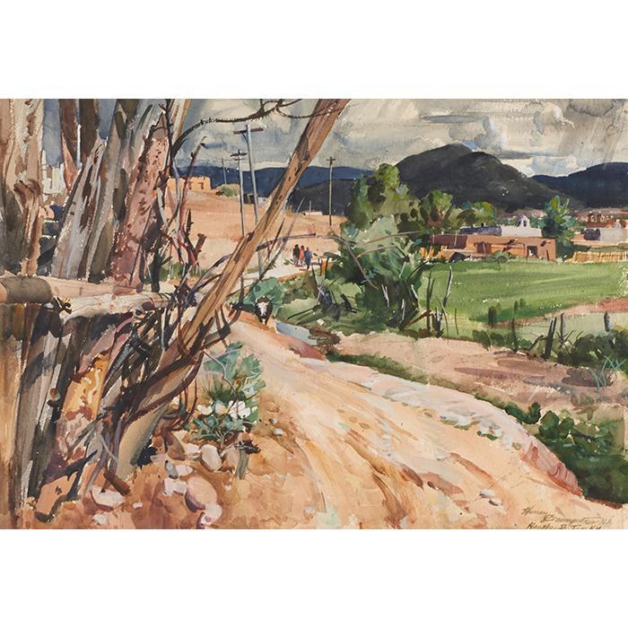 Warren W. Baumgartner, (American, 1894-1963), Ranchos de Taos, watercolor, 19
