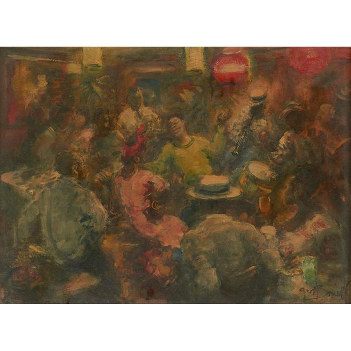 Georges Bouisset, (French, 1903-1965), Jazz Scene, oil on canvas, 17.25