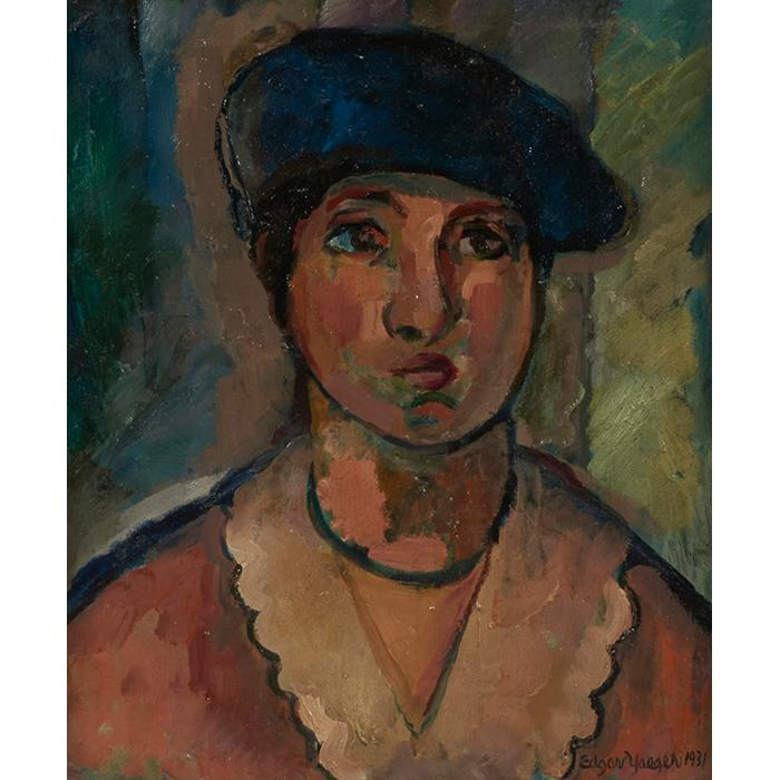 Edgar Louis Yaeger, (American, 1904-1997), Portrait with Beret, 1931, oil on canvas, 18