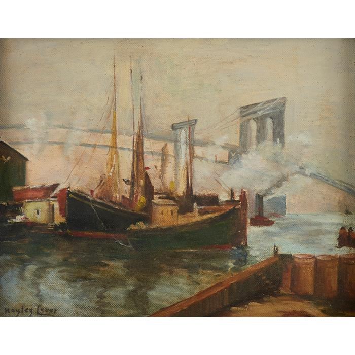 Richard Hayley Lever, (American, 1876-1958), View of the Brooklyn Bridge, oil on masonite, 16