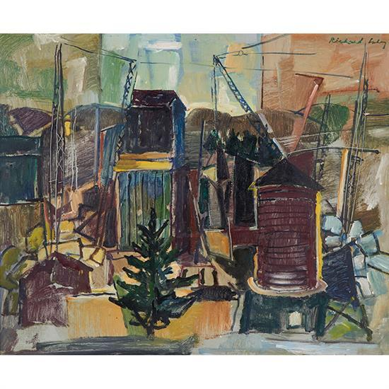 Richard Lahey, (American, 1893-1978), Granite Quarry, Maine, oil on masonite, 18