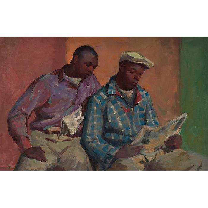 Carl John Zimmerman, (American, 1900-1985, Reading the Paper, c. 1960, oil on canvas, 26.5