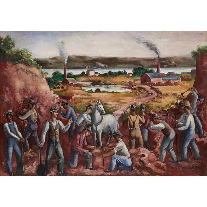 Arnold Blanch, (American, 1896-1968), The Road Makers, 1927, oil on canvas, 30