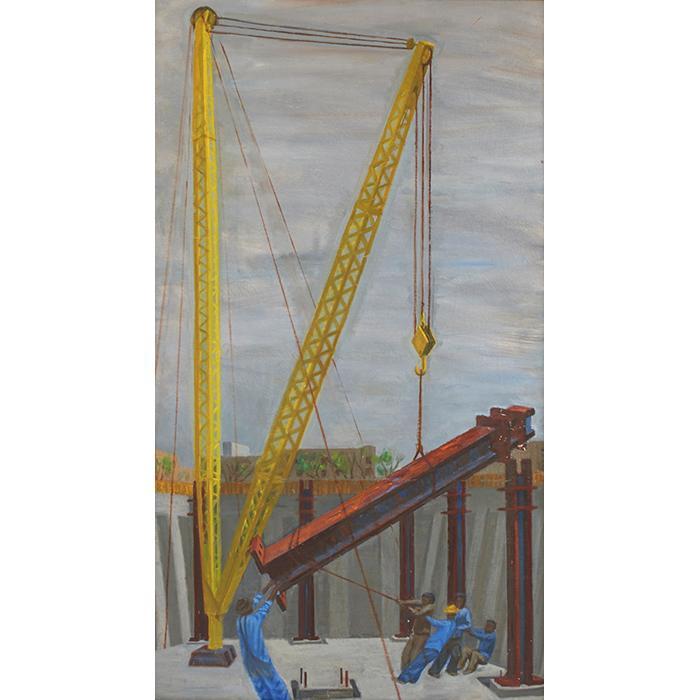 Artist Unknown , (20th century), Industrial Scene, oil on canvas, 46