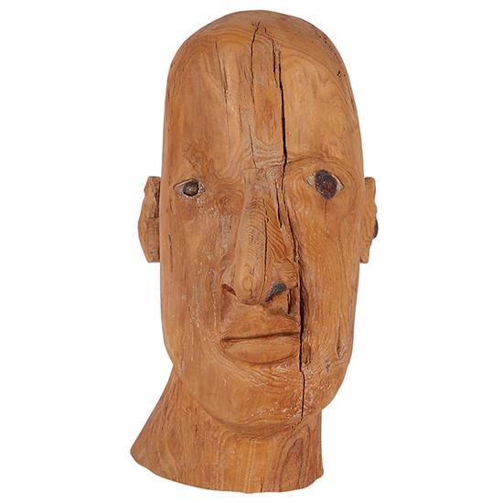 Judith Shea, (American, b. 1948), Head, carved wood, 12