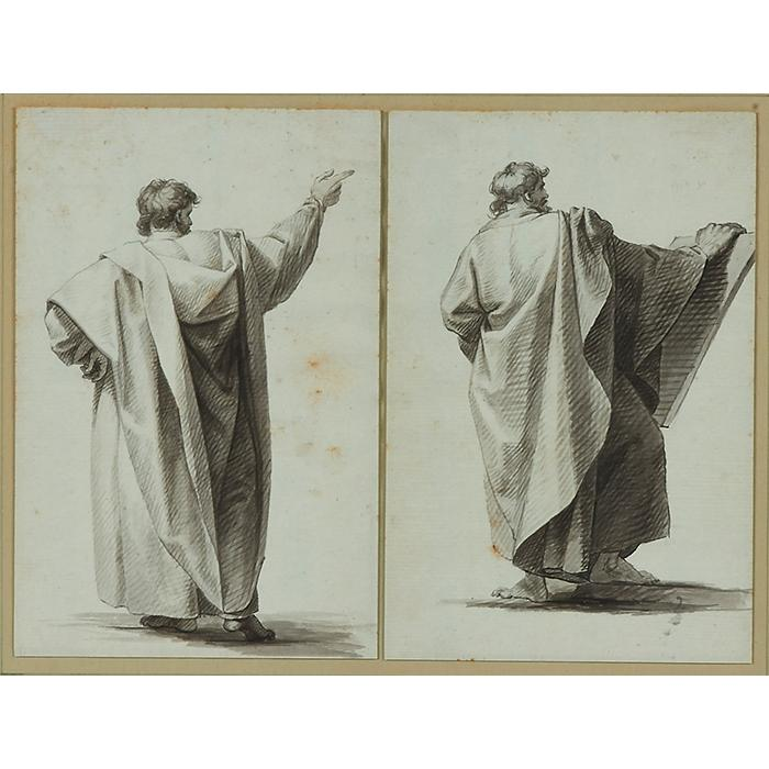 Style of John Trumbull, (American, 1756-1843), No. 2 and No. 4 (a pair of works), ink wash on paper, 7.25