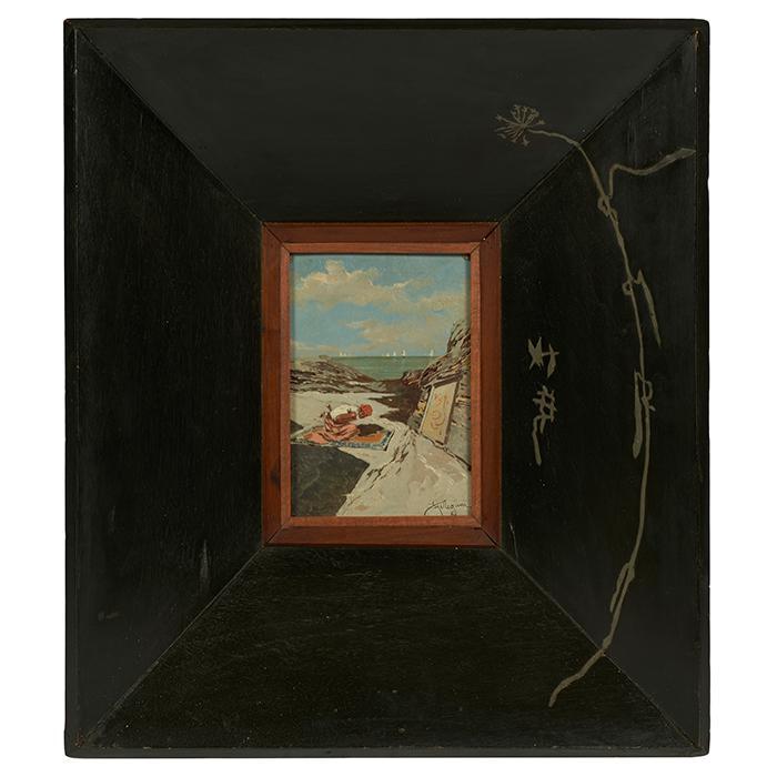Riccardo Pellegrini, and Carlo Bugatti (Italian, 1863-1934) and (Italian, 1856-1940), Orientalist Scene (Carlo Bugatti frame), oil o...