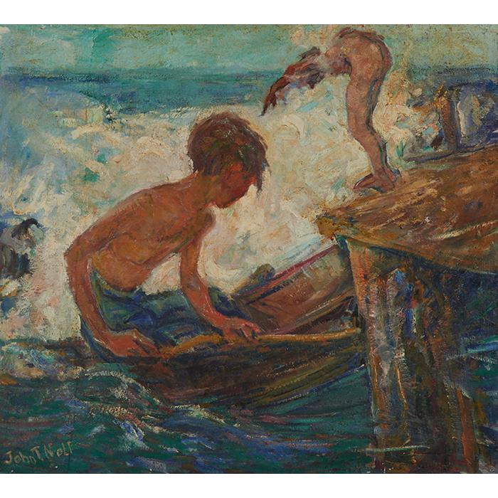 John Nolf, (American, 1872-1950), Children Diving into Water, oil on canvas, 29