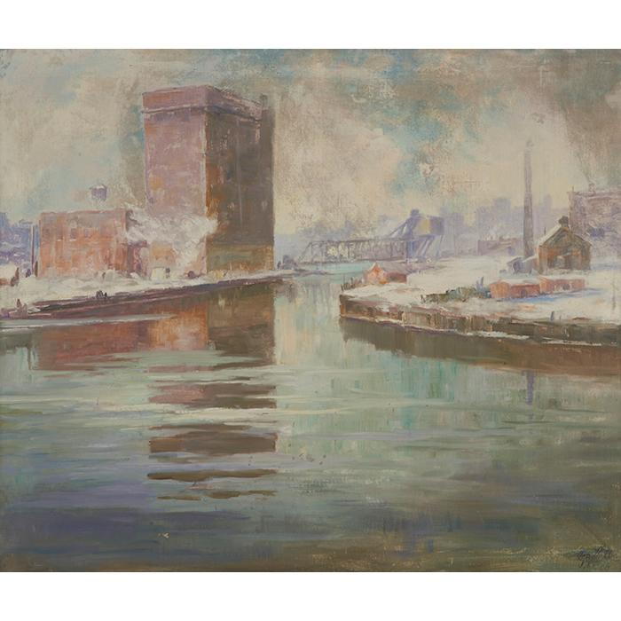 Jesse Carl Hobby, (American, 1871-1938), Chicago Industrial Scene, oil on canvas, 25