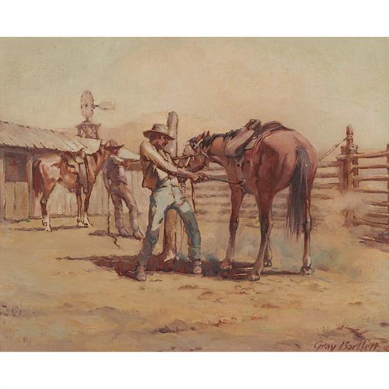 Gray Bartlett, (American, 1885-1951), Saddling a Fresh Mount, 1940, oil on canvasboard, 16