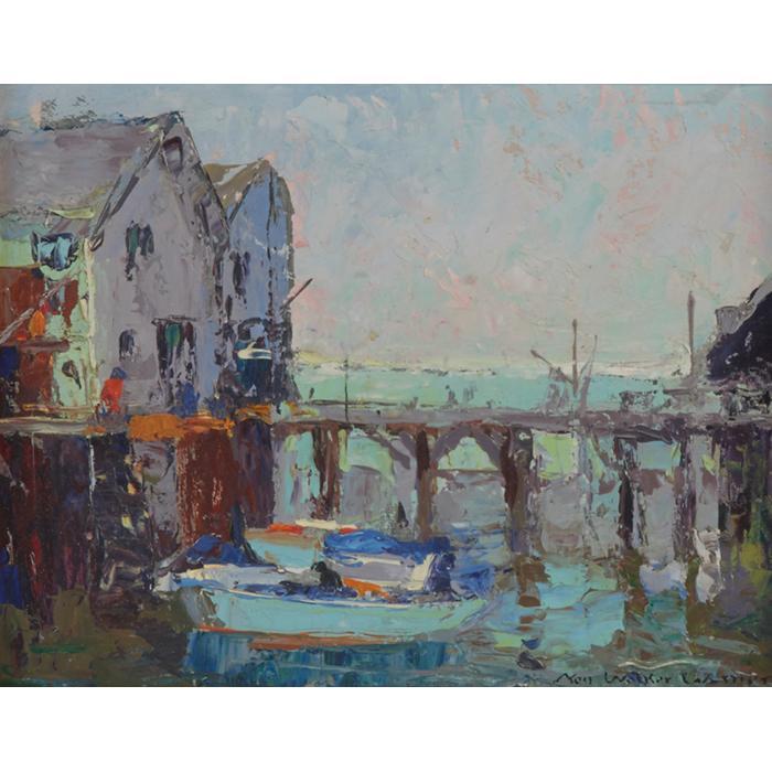 Nell Walker Warner, (American, 1891-1970), Harbor Scene, oil on board, 6.75