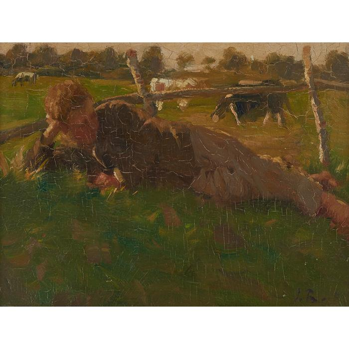 Julius Rehder, (American, 1861-1955), Boy Lying in a Field, oil on board, 8.75