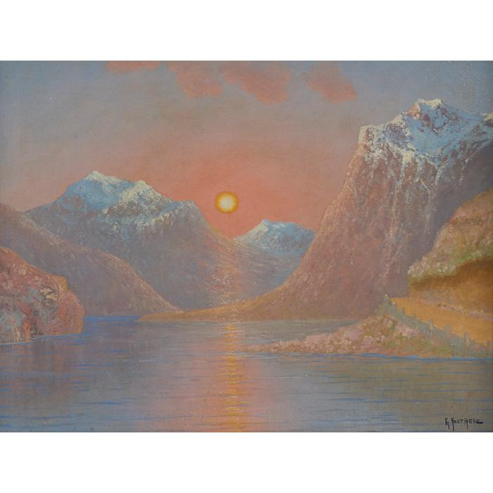 Gulbrand Sether, (Norwegian/American, 1869-1941), Sun over Fjord, Norway, oil on canvas, 18