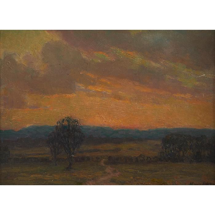 Marie Lokke, (Norwegian/American, 1877-1948), Landscape, oil on board, 9.5