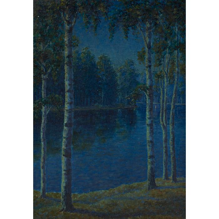 Eric Dufstrom, (American, 20th century), Moonlit Birches, 1912, oil on canvas, 28