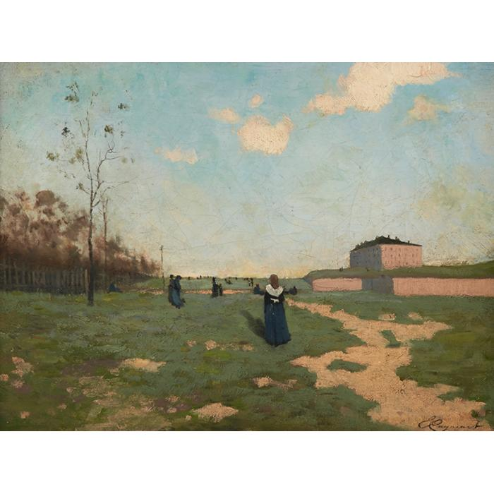 Emile Cagniart, (French, 1851-1911), Nuns in a Field, oil on canvas, 16