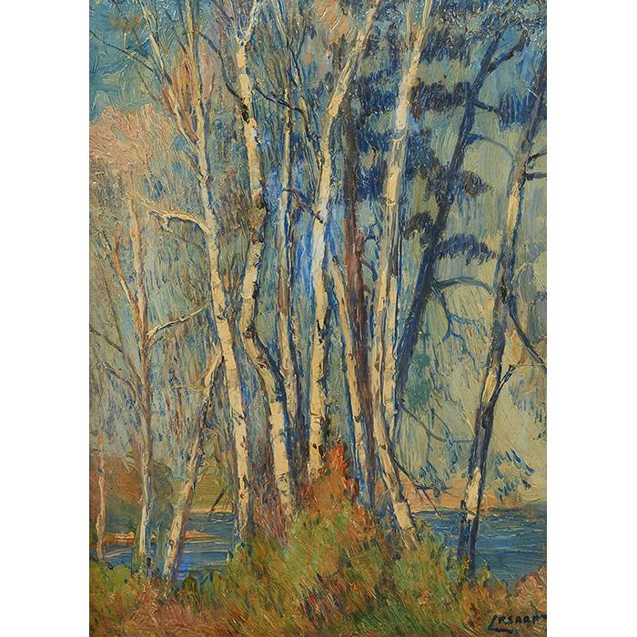 Charles Lesaar, (American/Belgian, 1884-1941), Birch Trees, oil on canvas, 16.5