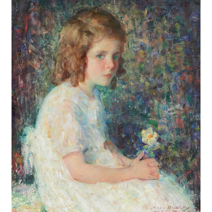 Murray Percival Bewley, (American, 1884-1964), Young Girl with Flowers, oil on canvas, 20