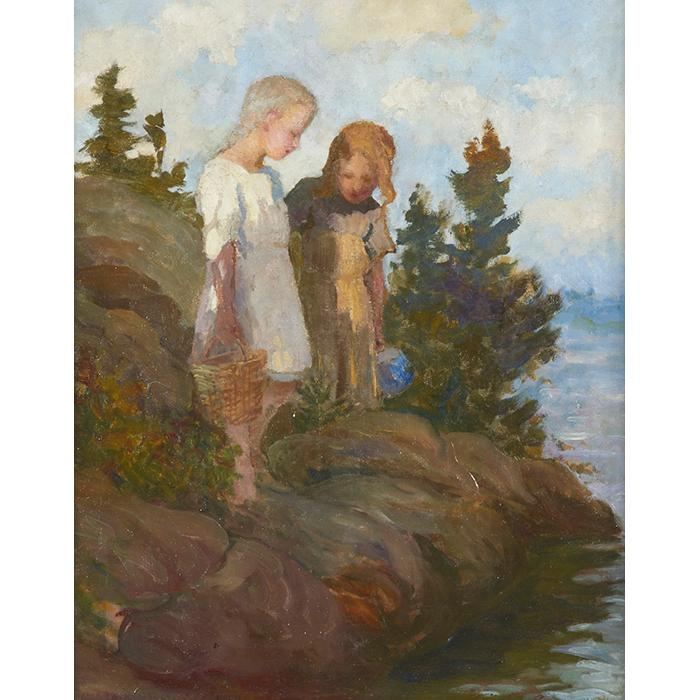 Adam Emory Albright, (American, 1862-1957), Two Girls Near a Stream, oil on canvas, 20