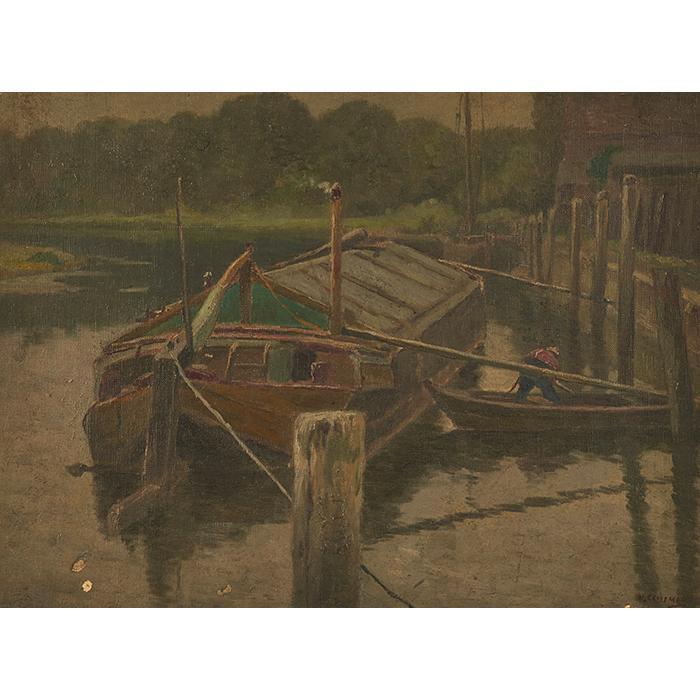 William Clusmann, (American, 1859-1927), Port Scene, oil on canvas on board, 14.75