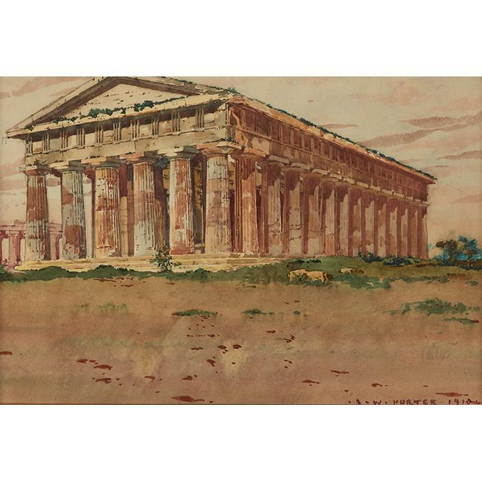 R.W. Porter, (American, 20th century), Temple of Hephaestus, 1910, watercolor, 9