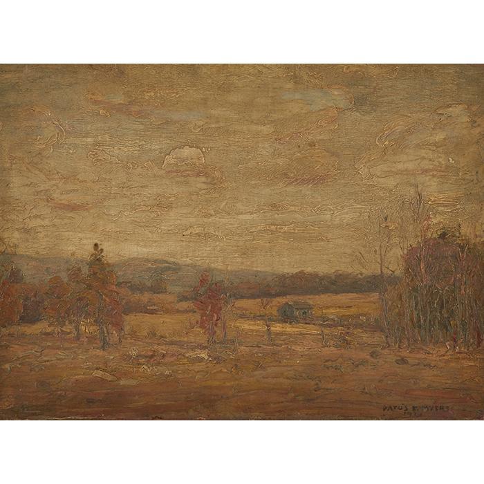 Datus Myers, (American, 1879-1960), Autumn Landscape, oil on canvas on board, 11.5
