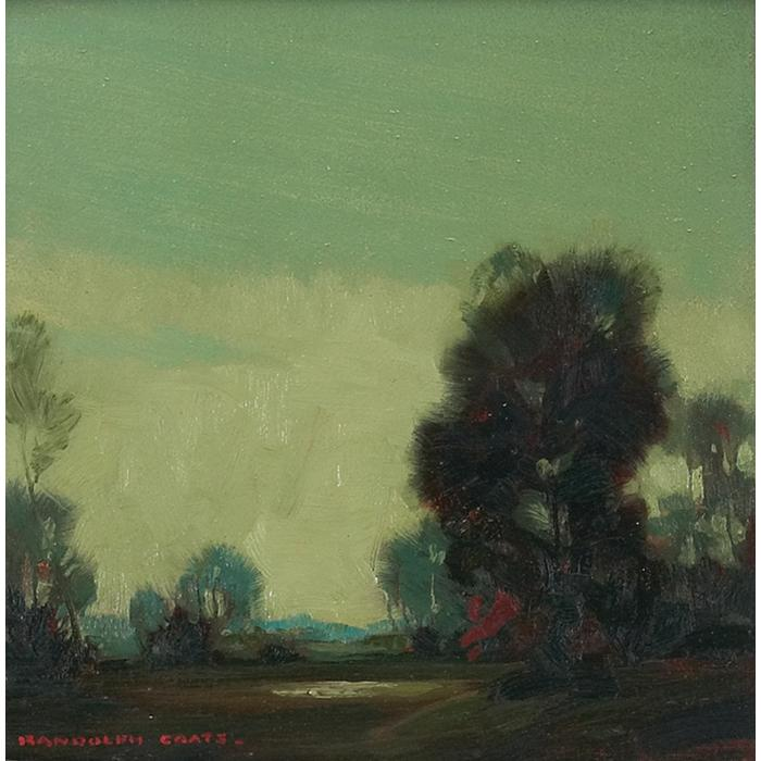 "Randolph Lasalle Coats, (American, 1891-1957), Landscape, oil on canvas, 10.75"" x 10.75"