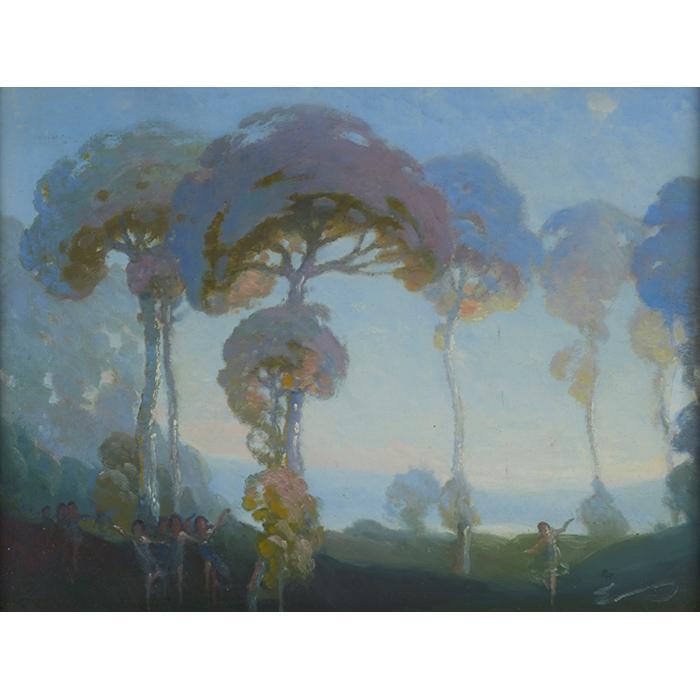 William C. Emerson, (American, 1865-1937), Tonalist Landscape with Figures, oil on board, 17.5