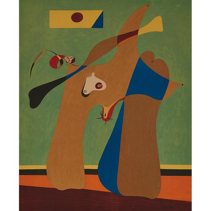 After Joan Miro, (Spanish, 1893-1983), Une Femme, 1958, color lithograph, 18.25