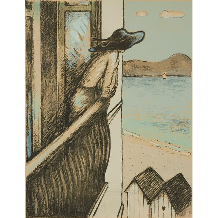 Jean-Pierre Cassigneul, (French, b. 1935), Au Balcon, 1973, color lithograph, 25.75