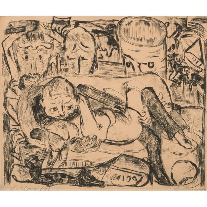 Max Beckmann, (German, 1884-1950), Liebespaar II, 1918, drypoint, 8.75
