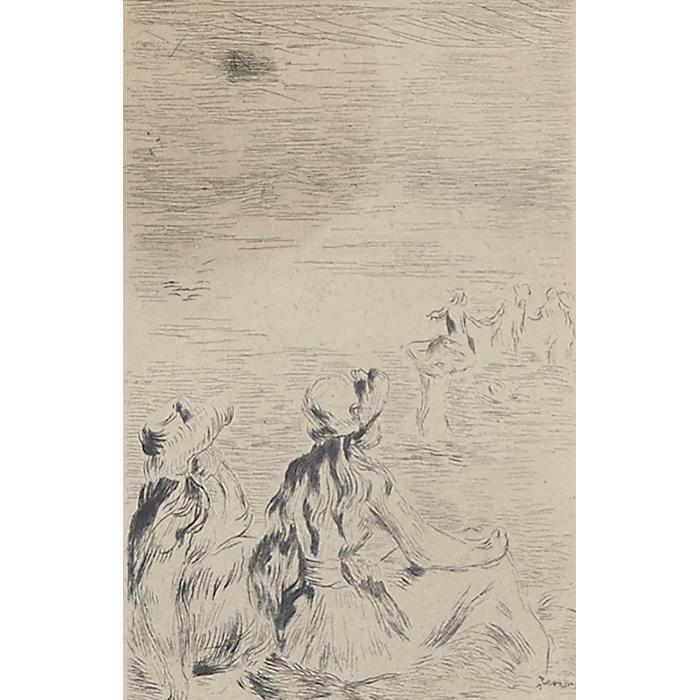 Pierre Auguste Renoir, (French, 1841-1919), Sur la Plage á Berneval, etching, 5.5