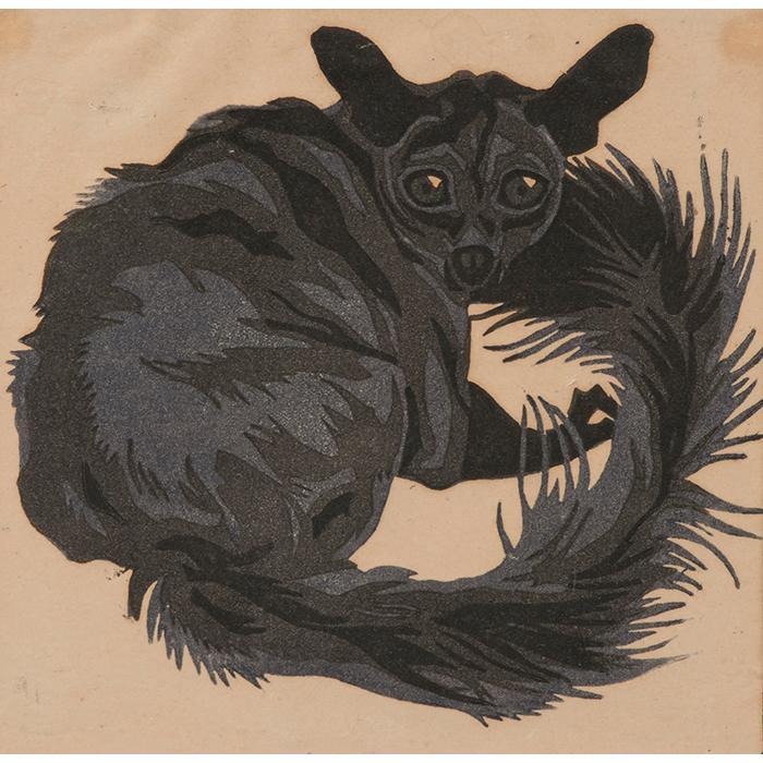 Norbertine Bresslern-Roth, (Austrian, 1891-1978), Lemur, color linocut, 6.5